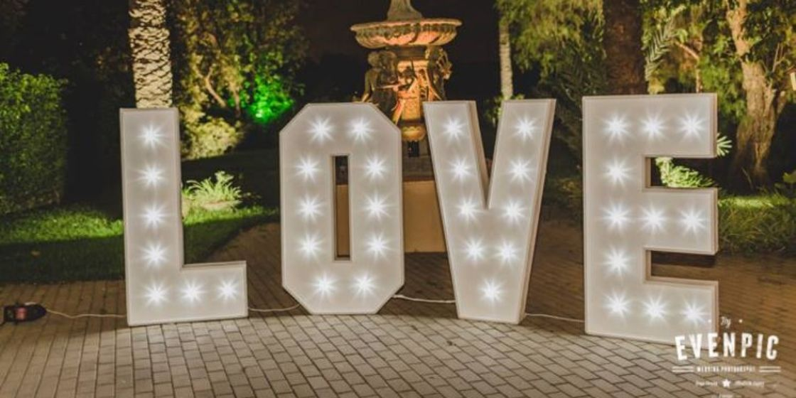 Illuminated giant LOVE letters Marbella