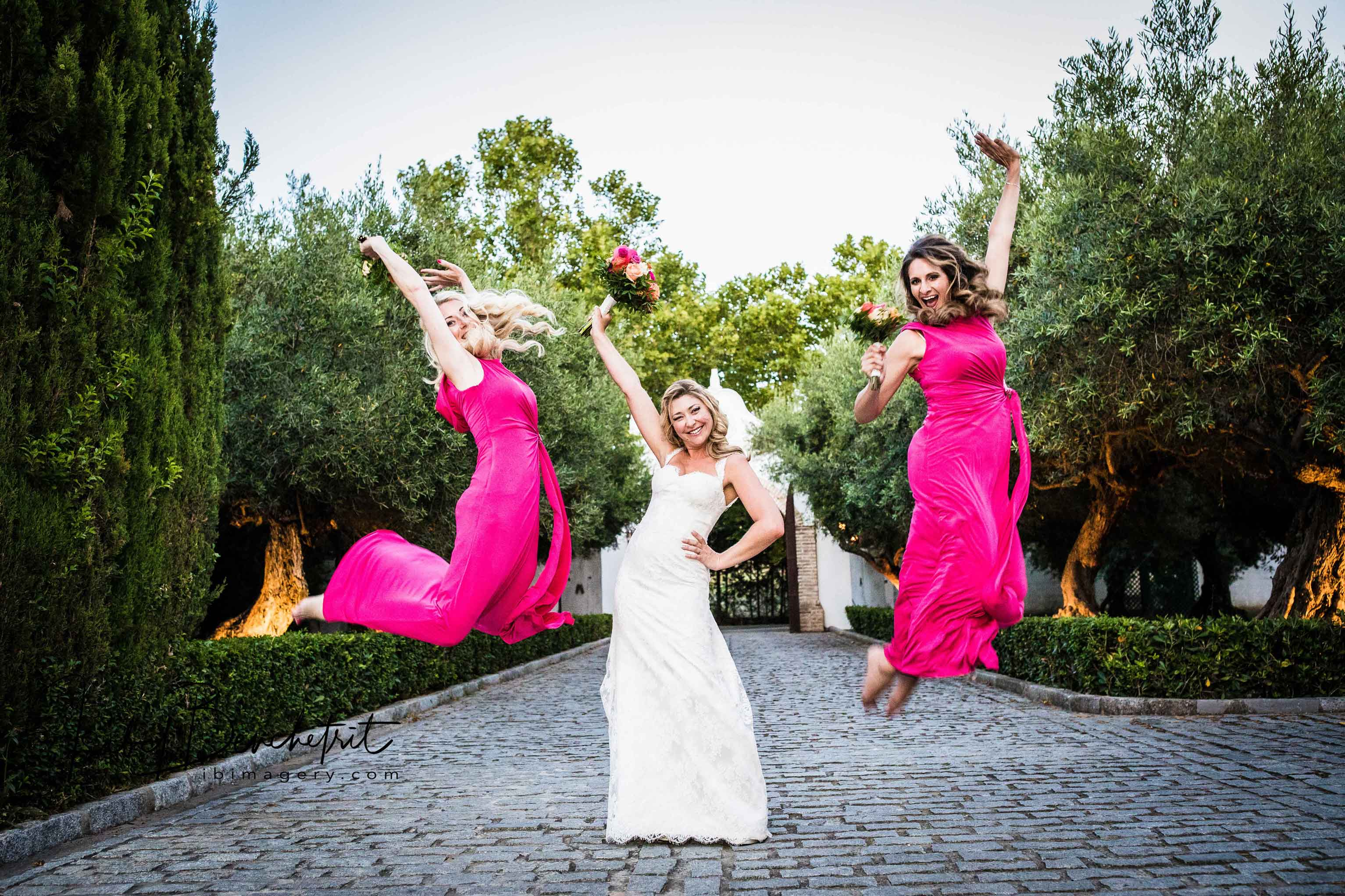Bridesmaids do a Jump